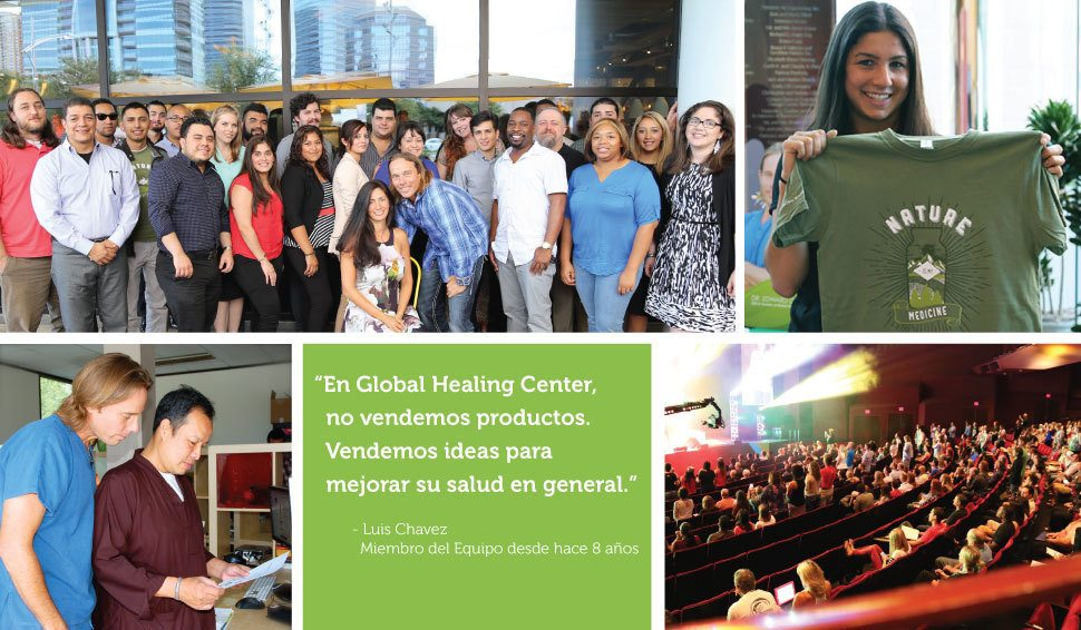 Collage de imágenes que representan la cultura de Global Healing Center.