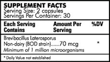 Latero-flora Nutritional Information Label