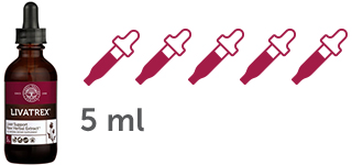 5 dropper icons with 1 ml each of Livatrex Liver Support Supplement