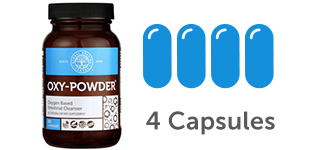 4 capsule icons of Oxy-Powder Colon Cleanse Supplement