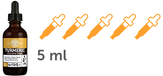 5 dropper icons with 1 ml each of Liquid Turmeric Supplement