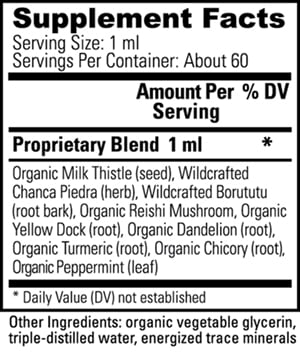 Livatrex Nutritional Information Label