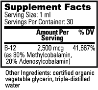 VeganSafe B-12 Supplement Facts 1 fluid ounce