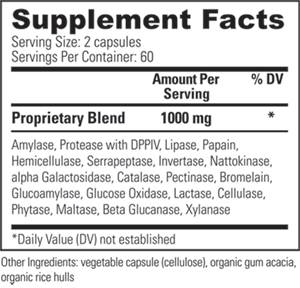 Veganzyme Nutritional Label