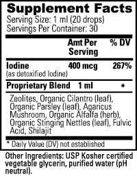 Zeotrex Nutritional Information Label
