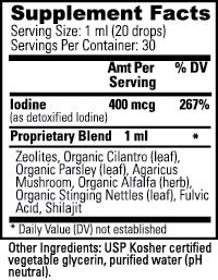 Zeotrex Nutritional Information Label