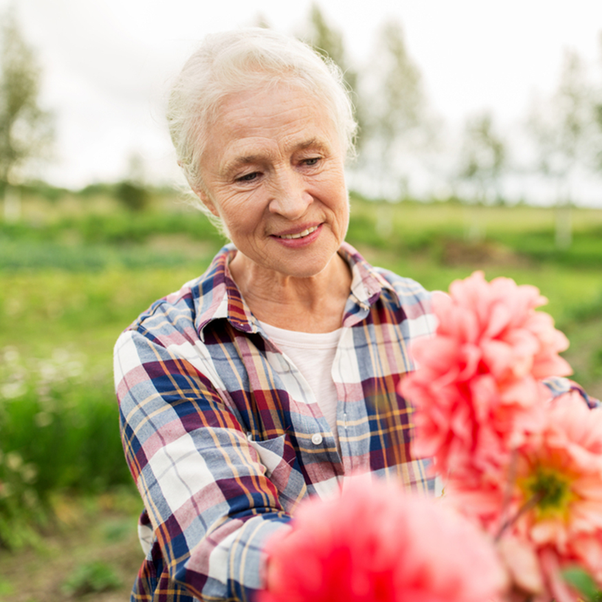 Helps Balance Candida – Older woman gardening in a field