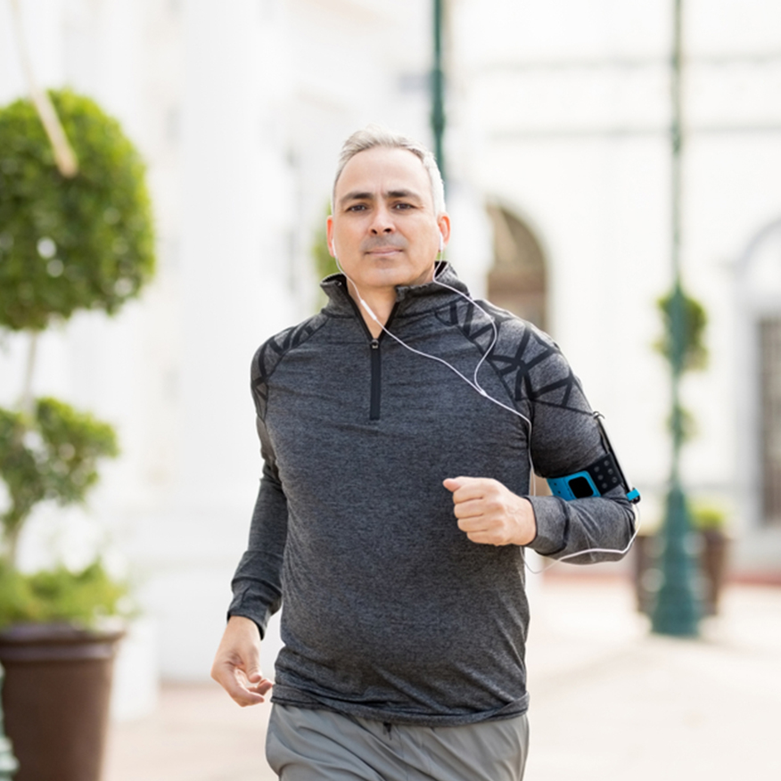 Promotes Regularity – Middle-aged man running