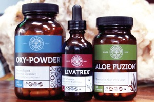 Oxy-Powder, Livatrex, and Aloe Fuzion Products feature the Global Healing Center label design for quality standards.